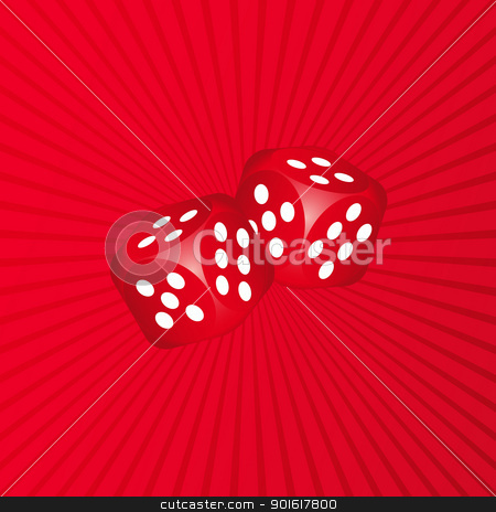 3D Dice on Red Background stock vector clipart, 3D Dice on Red Background by kurkalukas