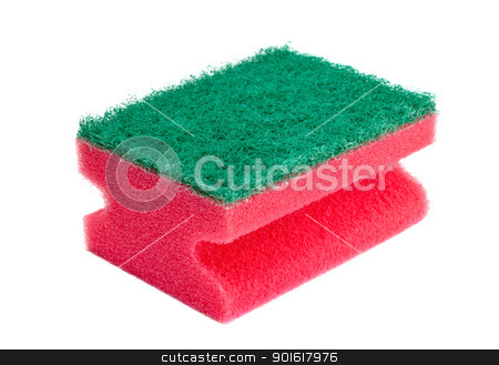 red and green sponge stock photo, red and green sponge isolated on white by Petr Malyshev