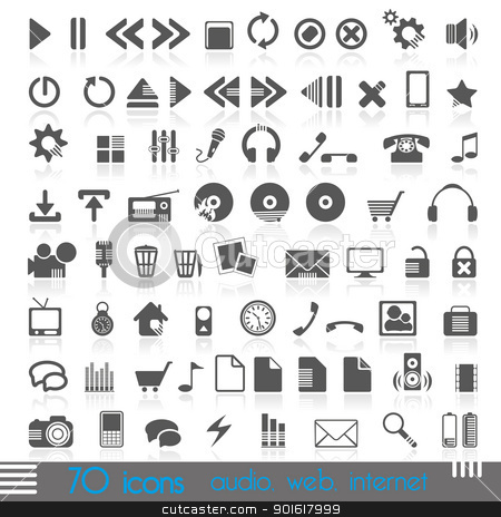 icons stock vector clipart, icons for web, audio, Internet by Miroslava Hlavacova