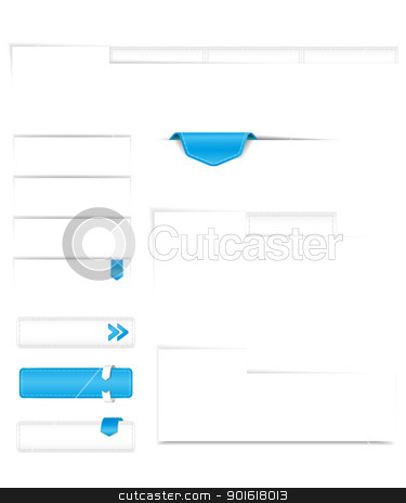 banners stock vector clipart, set of white buttons, banners with shadow for the Web by Miroslava Hlavacova