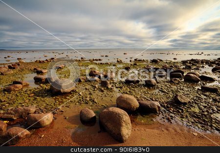 rocky seashore stock photo, seashore with big stones under dark cloudy sky by Petr Malyshev