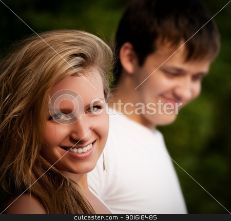 beautiful couple smiling stock photo, beautiful couple smiling closeup by Petr Malyshev