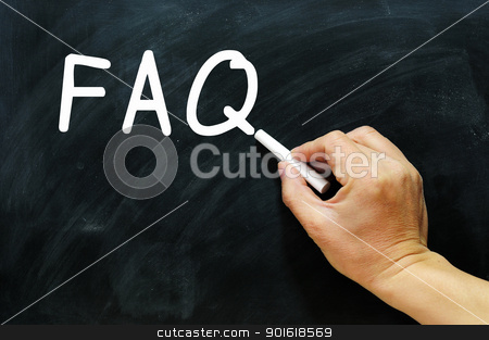 FAQ written on a chalkboard stock photo, FAQ written with chalk on a chalkboard by John Young