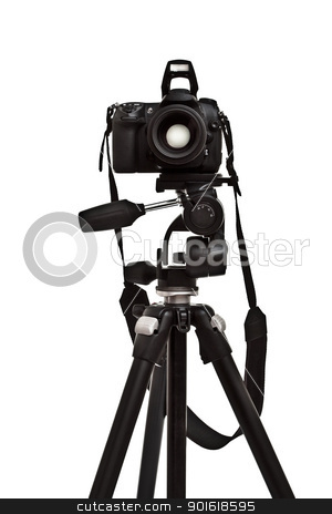 photo camera on tripod stock photo, photo camera on tripod, white background by Petr Malyshev