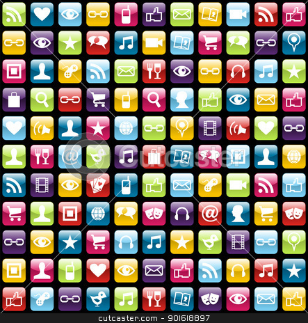 Mobile phone app icons pattern background stock vector clipart,  Smartphone app icon set seamless pattern background. Vector file layered for easy manipulation and customisation. by Cienpies Design