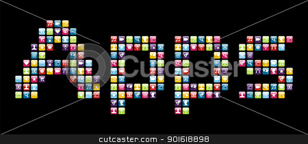 Mobile phone icons set in Apps word  stock vector clipart, Smartphone applications icon set in Apps word shape. Vector file layered for easy manipulation and customisation. by Cienpies Design