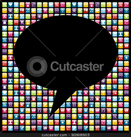 Social media smartphone application icon concept stock vector clipart, Social bubble shape over mobile phones applications software icon set background. Vector file layered for easy manipulation and customisation. by Cienpies Design