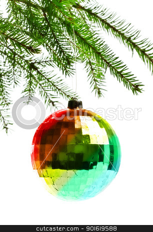 decoration ball on fir branch stock photo, decoration ball on fir branch, white background by Petr Malyshev
