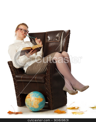 female teacher sitting in armchair stock photo, pretty female teacher sitting in armchair by Petr Malyshev