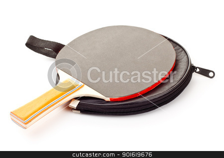 table tennis racket stock photo, table tennis racket on cover isolated on white by Petr Malyshev