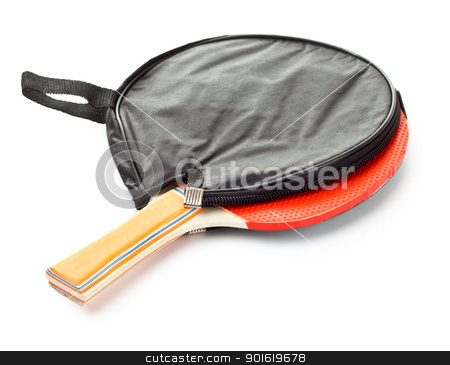 table tennis racket stock photo, table tennis racket in cover isolated on white by Petr Malyshev
