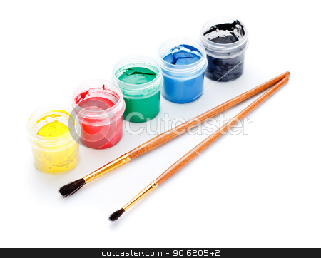 Paint Cans and Brushes stock photo, paint cans and brushes isolated on white background by Petr Malyshev