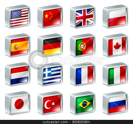Flag icons buttons stock vector clipart, Flag icons or buttons, can be used as language selection icons for translating web pages or region selection or similar.  by Christos Georghiou