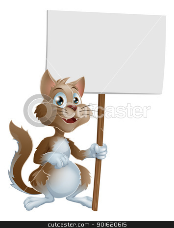 Cute cartoon cat character with sign stock vector clipart, Illustration of a cute cartoon cat character holding a sign by Christos Georghiou