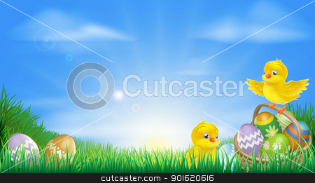 Yellow Easter chicks and eggs background stock vector clipart, Background illustration of happy yellow Easter chicks and Easter eggs in a field by Christos Georghiou