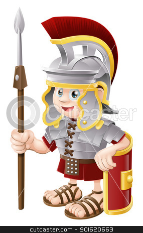 Cartoon Roman Soldier stock vector clipart, Illustration of a cute happy Roman soldier holding a spear and a shield by Christos Georghiou