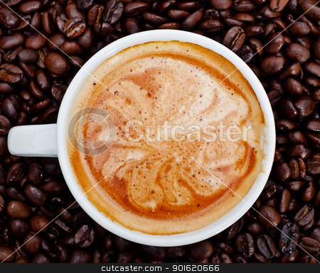 espresso cup in coffee beans stock photo, espresso cup in coffee beans, front view by Petr Malyshev