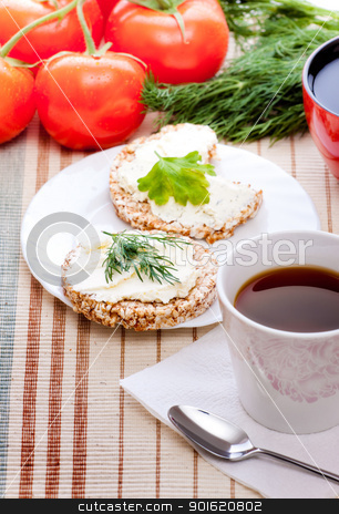 diet breakfast stock photo, diet breakfast with tea and corn bread by Petr Malyshev