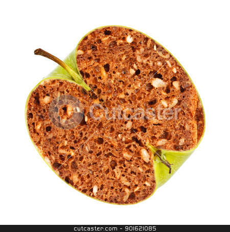 GMO Applebread stock photo, green apple with bread inside, genetically modified organism by Petr Malyshev