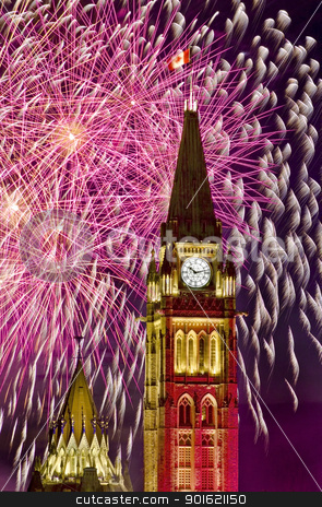 Political Fireworks stock photo, The canadian Parliament Centre Block surrounded by fireworks during the Canada day fireworks display. by Michel Loiselle