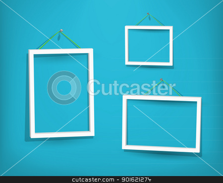 White frame on the wall stock photo, Three empty frame of picture on the blue wall. Eps10. Used opacity layers for effect of shadows by Imaster