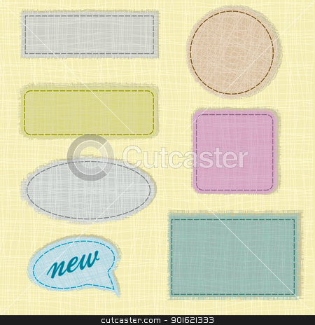 fabric stock vector clipart, labels and fabric labels with space for text by Miroslava Hlavacova
