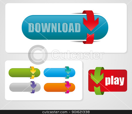 button stock vector clipart, arrow button more color set by Miroslava Hlavacova
