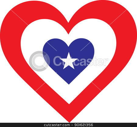 America Heart stock vector clipart, A heart shaped design with national symbolism evocative of America. by Maria Bell