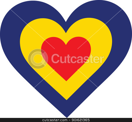 Romania Heart stock vector clipart, A concentric, heart shaped design, with national symbolism evocative of Romania. by Maria Bell