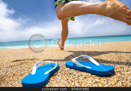 man running on the beach and slipper stock photo, man running on the beach and slipper by tomwang