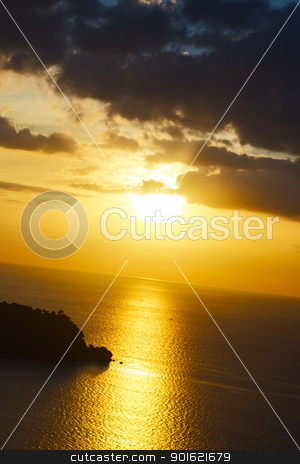Sunset over Andaman Sea stock photo, sunset over Andaman Sea, in Thailand, high angle view by Petr Malyshev