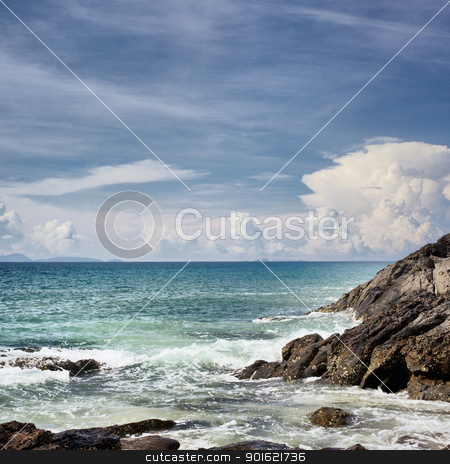 Rocky Shore stock photo, rocky along the beach, Andaman Sea, Thailand by Petr Malyshev
