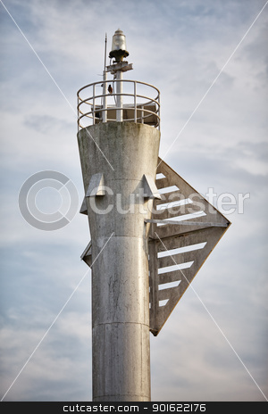 Top of Lighthouse stock photo, upper part of gray modern metal lighthouse by Petr Malyshev