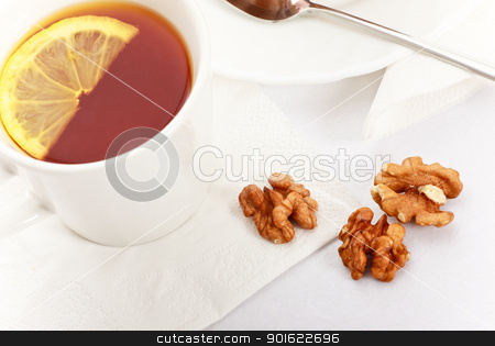 Tea With Lemon stock photo, tea with lemon on white napkin, still life by Petr Malyshev