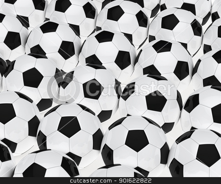 many footballs stock photo, many soccer footballs be in a series by d3images