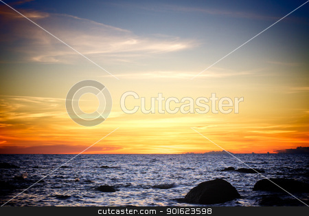 Sunset over Andaman Sea stock photo, beautiful sunset over Andaman Sea, in Thailand by Petr Malyshev