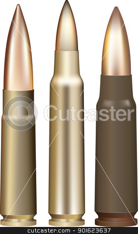 Vector bullets stock vector clipart, Three rifle bullets. Vector illustration. by vtorous