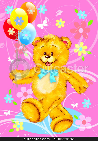 Freehand drawing  0018 stock photo, Teddy Bear with Balloons by Freehand drawing.  by tanginuk1205