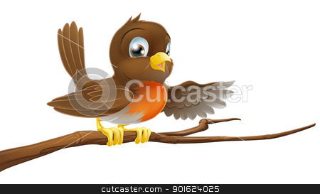 Robin bird on branch pointing stock vector clipart, A robin redbreast sitting on a tree branch and pointing by Christos Georghiou