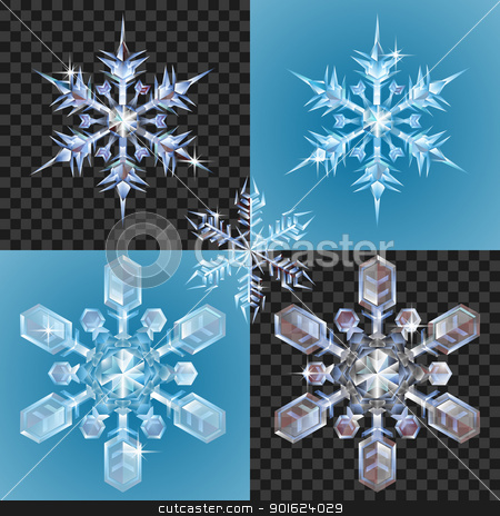 Christmas Snowflake design elements stock vector clipart, Series of transparent snowflake design elements shown on different backgrounds by Christos Georghiou