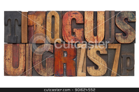 letterpress wood type abstract stock photo, letters and numbers - isolated vintage letterpress wood type abstract by Marek Uliasz