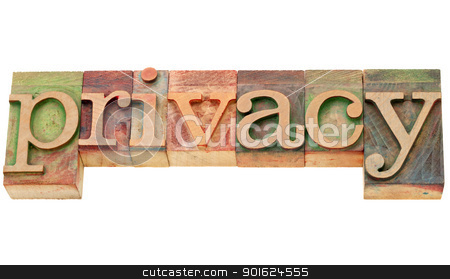 privacy word in letterpress type stock photo, privacy - isolated word in vintage letterpress wood type by Marek Uliasz