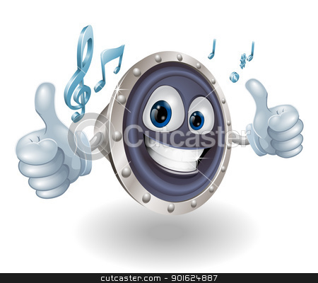 Music audio speaker character stock vector clipart, Illustration of a cool music audio speaker character doing a double thumbs up by Christos Georghiou