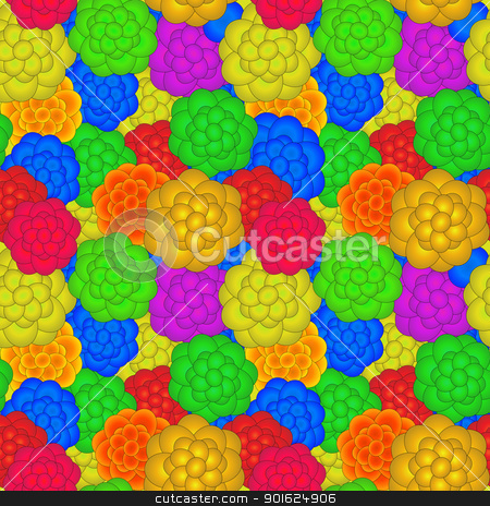 A retro floral pattern stock vector clipart, Seamless retro pattern with floral motif, easy to edit graphic, just paste into illustrator pattern box. by Richard Laschon