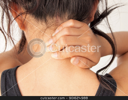 Neck pain stock photo, Neck pain by Paisan  Changhirun