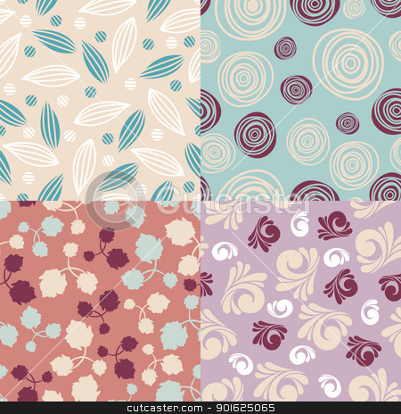 set of cute seamless backgrounds stock vector clipart, set of cute seamless backgrounds vector illustration by SelenaMay