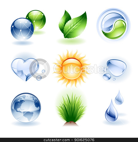 Icon set - Nature stock vector clipart, Vector set of various nature icons / design elements by Thomas Amby Johansen
