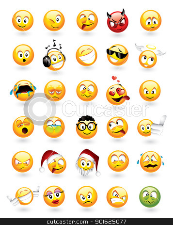 Set of 30 emoticons stock vector clipart, Large vector set of 30 emoticons with various facial expressions by Thomas Amby Johansen