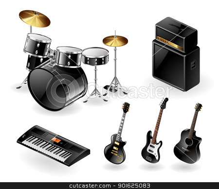 Modern musical instruments stock vector clipart, Vector icon set of modern electric music instruments by Thomas Amby Johansen