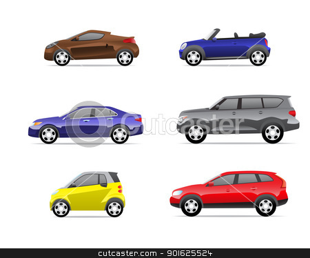 Cars icons set part 3 stock photo, Cars icons set isolated on white background, no transparencies. by lkeskinen